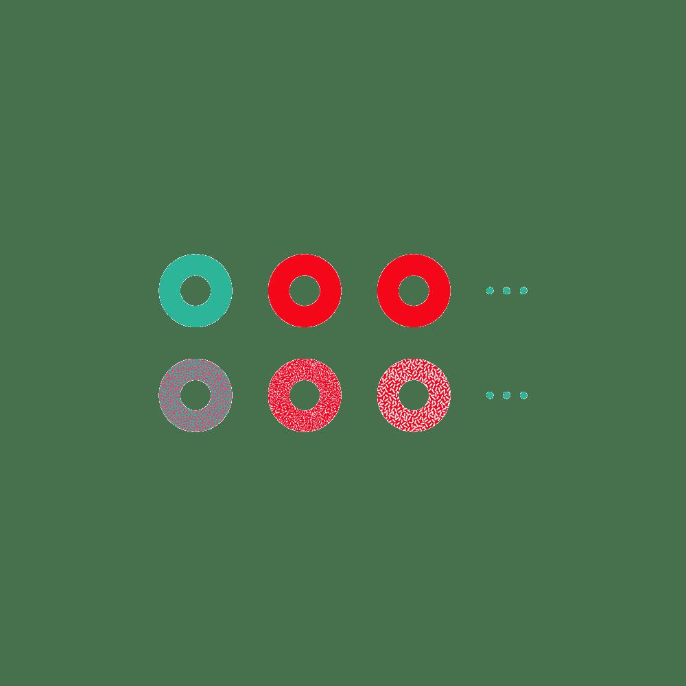 Abstrakte Darstellung von Backwaren (Donuts) in unterschiedlichen Farben und mit verschiedenen Strukturen der Oberfläche.