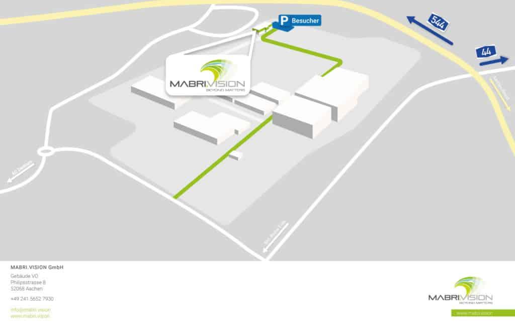 """Wegbeschreibung zum MABRI.VISION Gebäude auf dem gelände des TRIWO Technologieparks Aachen. Das Gebäude befindet sich am hinteren, linken Ende des Geländes. Um dorthin zu gelangen, durchfahren Sie den Eingang des TRIWO Technoparks und folgen Sie dem """"Hauptweg"""" bis zu dem ersten Wegweiser. Passieren Sie diesen und biegen danach bei der ersten Gelegenheit nach links ab. Folgen Sie dem Weg bis zu dem unbebauten Gelände und biegen Sie rechts ab. Nun sehen Sie auf der linken Seite bereits unser Gebäude, welches sich am Ende des Weges befindet. Hinter dem Gebäude stehen Ihnen Kundenparkplätze zur Verfügung."""