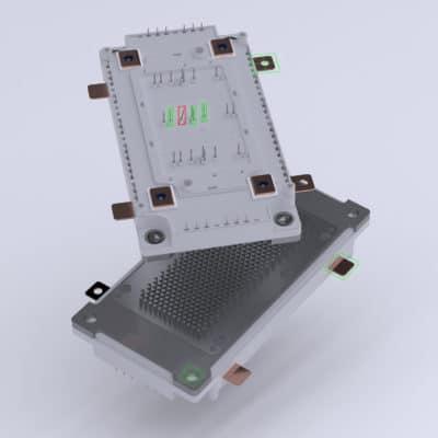 Leistungsmodul vor neutralem Hintergrund mit Machine Vision AR-Prüfoverlay