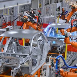 16221553 - robots welding in an automobile factory